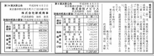 吸収分割公示20180402