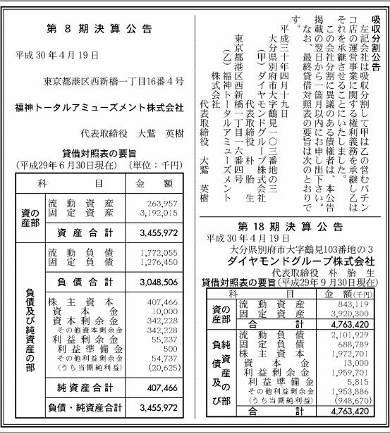 吸収分割公示20180420