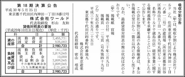 吸収分割公告20180525