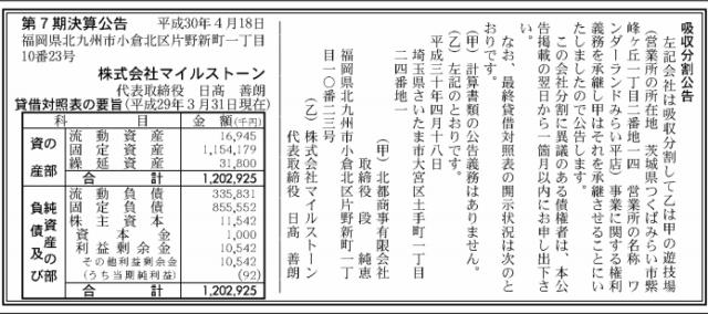 吸収分割公示20180418