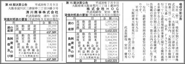 吸収分割公示20180709