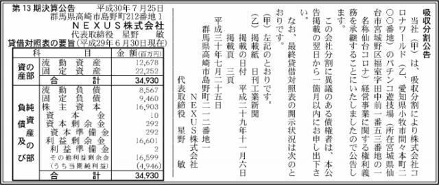 吸収分割公示20180725