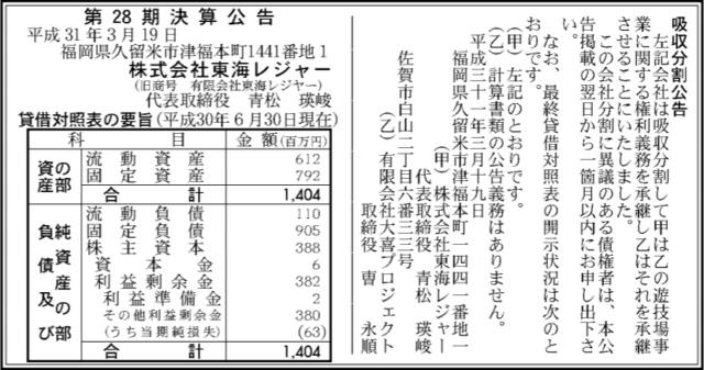 吸収分割公示20190319