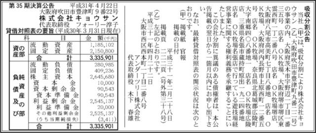 吸収分割公示20180422