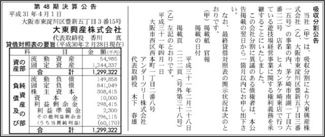 吸収分割公示20190401
