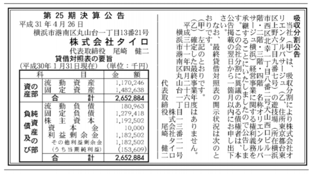 吸収分割公示20190426-2