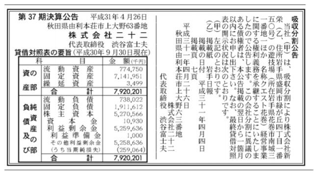 吸収分割公示20190426