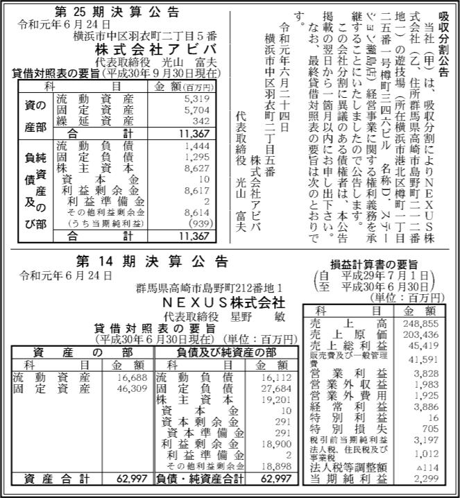 吸収分割公示20190624-1