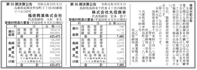 吸収分割公示20191008