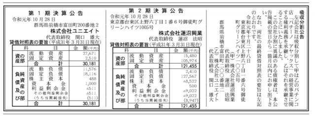 吸収分割公示20191028