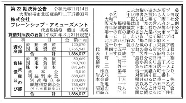 吸収分割公示20191114
