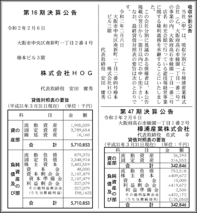 吸収分割公示20200206