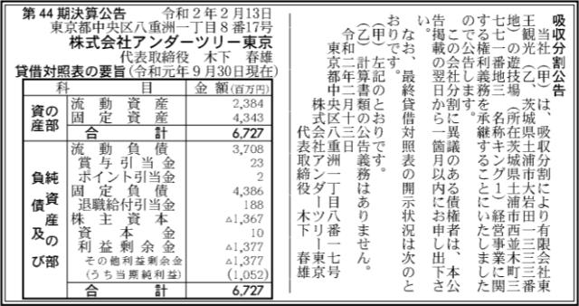 吸収分割公示20200213