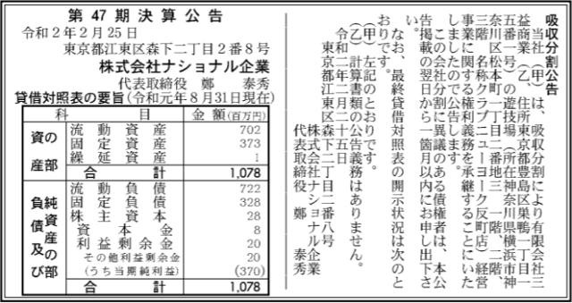 吸収分割公示20200225