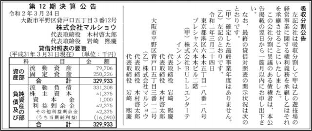 吸収分割公示20200324