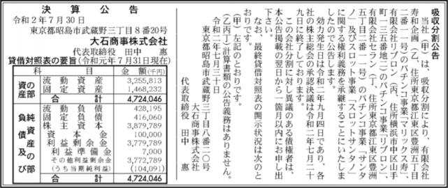 吸収分割公示20200730