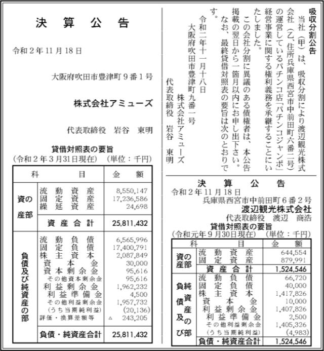 吸収分割公示20201118
