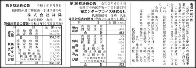 吸収分割公示20210609